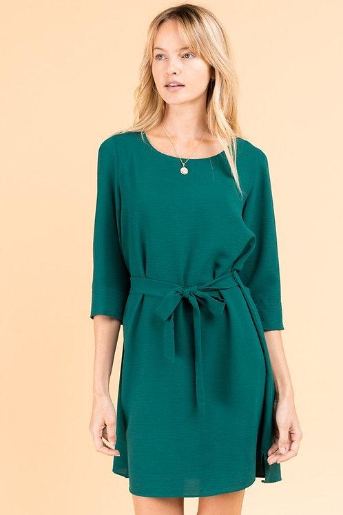 Hunter Green Tie Waist Dress