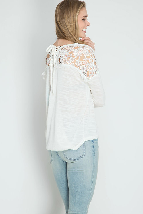 Cream Lace Back Long Sleeve Top