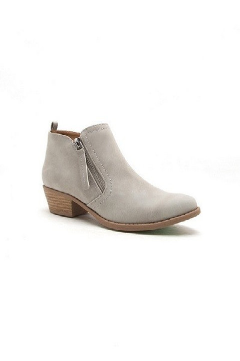 The Elaina Collection Grey Block Heel Booties