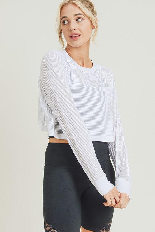 White Long Sleeve Loose Fit Crop Top