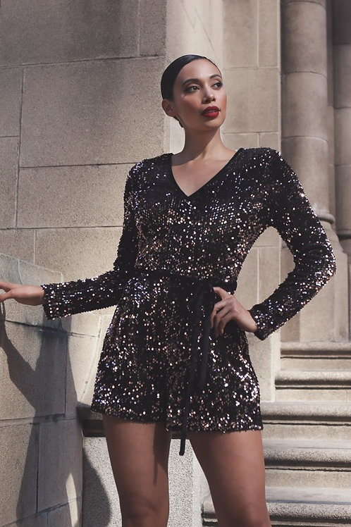 Black and Copper Sparkle Long Sleeve Romper