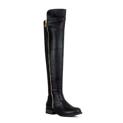 Over the Knee Side Zip Black Boots