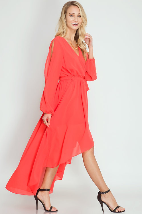 Coral Silk Blend Maxi Dress