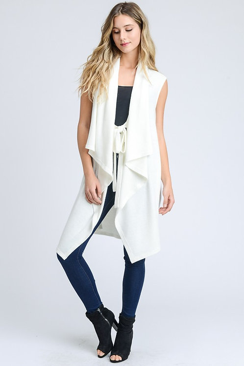 Long Draped Ivory Vest with Pockets and Front Tie