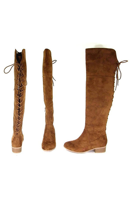 Chestnut Brown Corset Back Knee High Boots