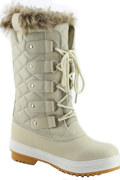 Off White Fur Lined Quilted Winter Snow Boots