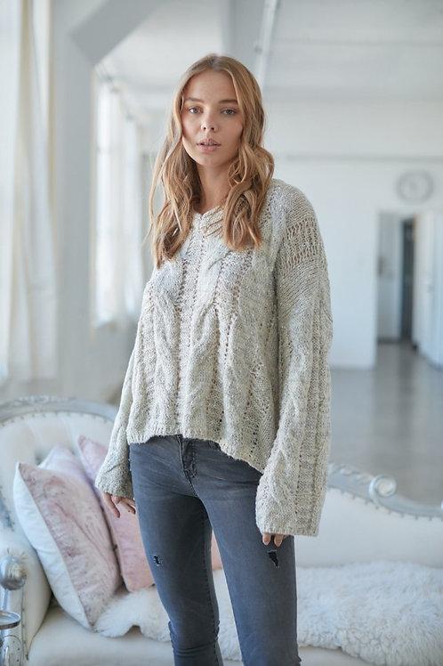 Cream Oversized V-Neck Sweater