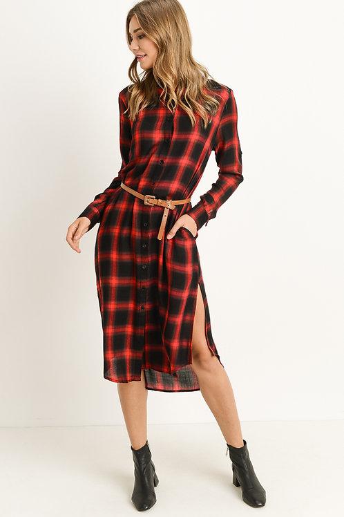 Red and Black Plaid Midi Tunic Dress