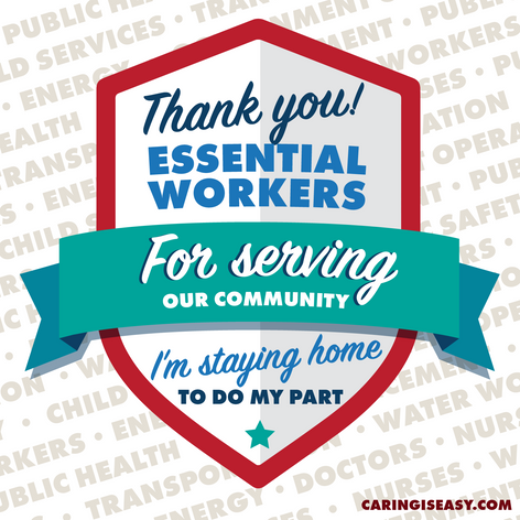 Thank You Essential Workers Teal