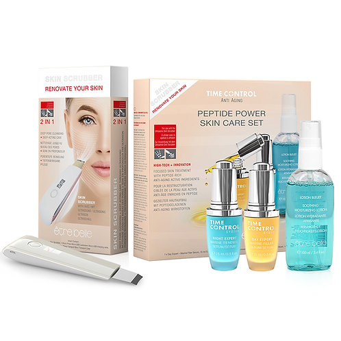 Time Control Ultrasonic Skin Scrubber + Peptide Power Skin Care Set