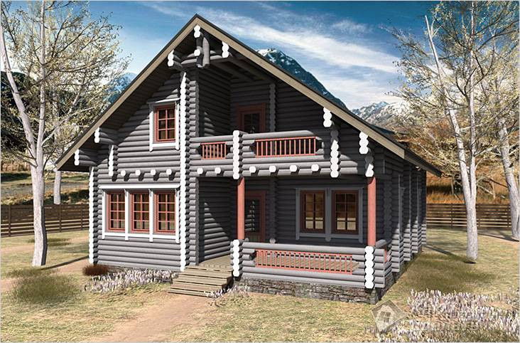 покрашенный дом из бревна в серый  цвет