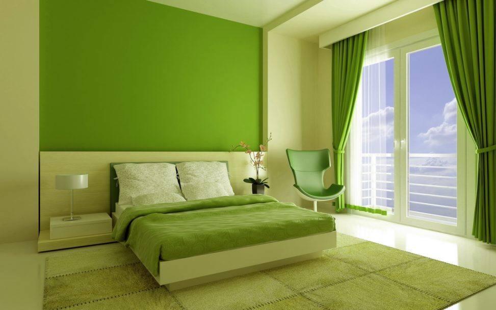 покрашенная стена резиной краской в зеленый цвет