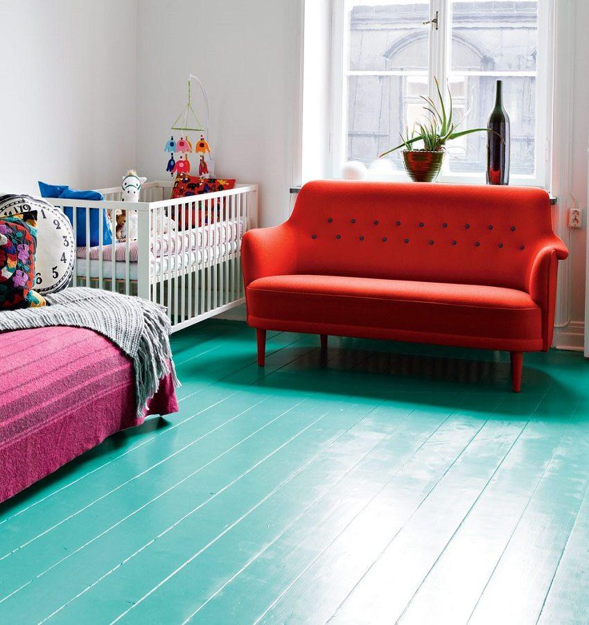 крашенный деревянный пол резиновой краской