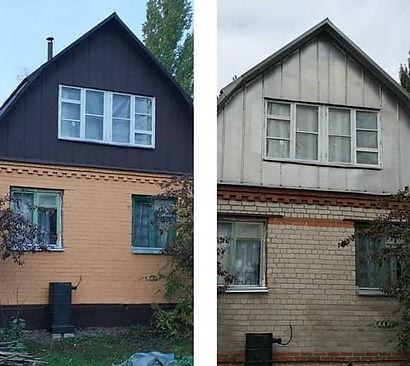Дом из кирпича покрашенный резиновой краской в цвет топлёное молокои арабика