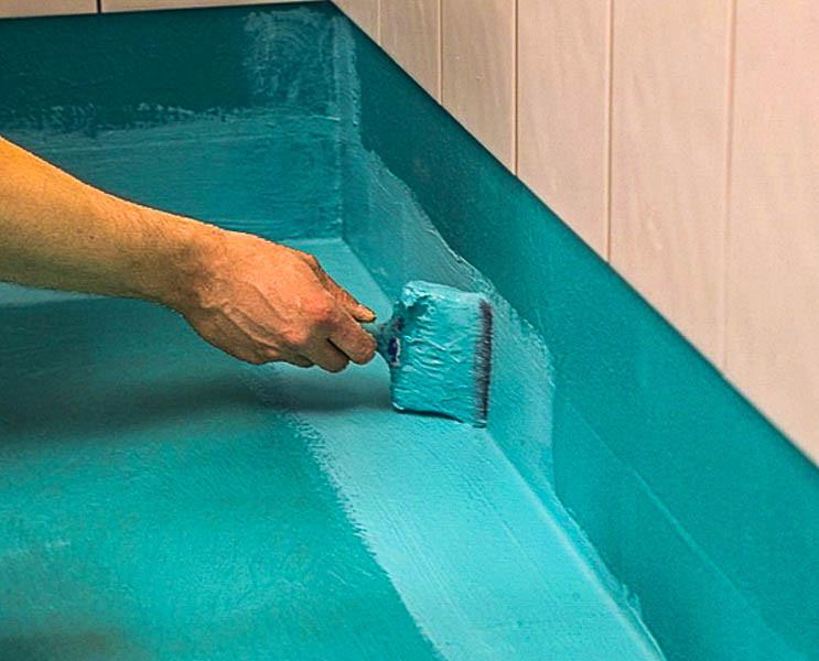Гидроизоляция резиновой краской  в ванной комнате