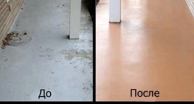 покрашенный пол гаража резиновой краской
