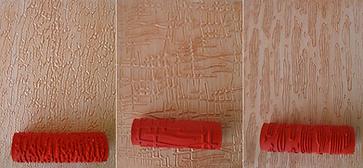 выкрасы фактурной краски разными валиками