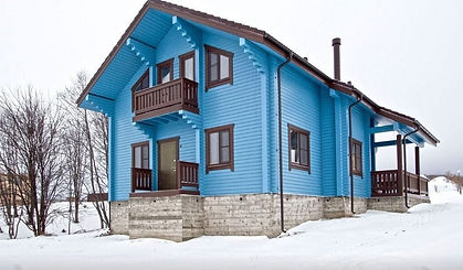 фасад покрашен цветом №17 Небесный