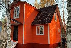 дом покрашенный резиновой краской супер декор раббер в цвет оранжевое лето