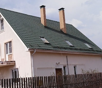 крыша покрашенная резиновой краской супер декор цветом лесная сказка