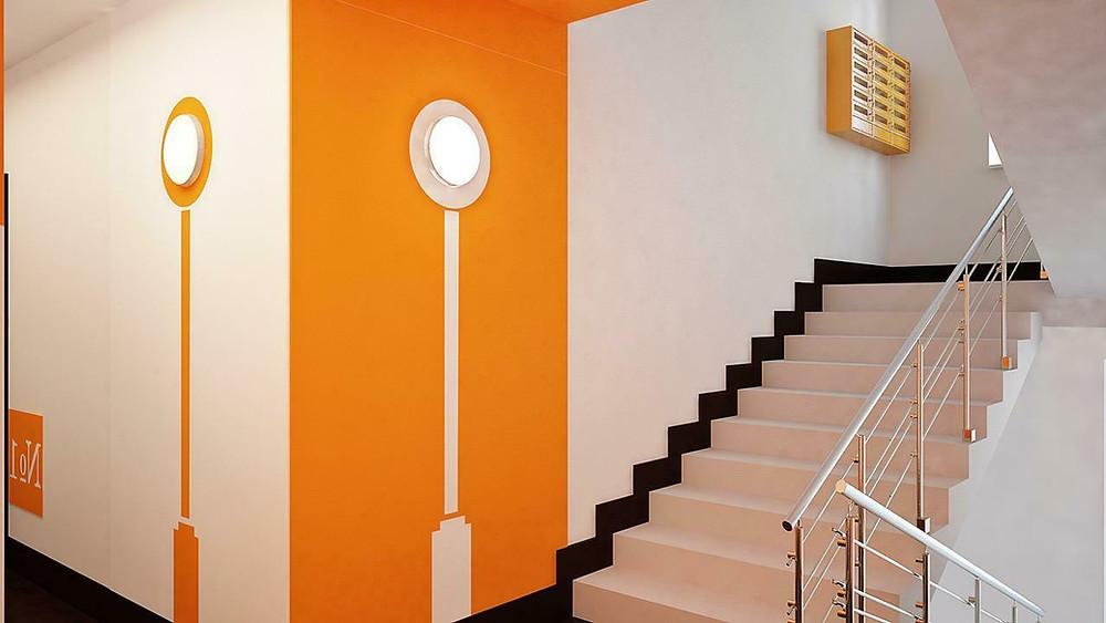 подьезд покрашенный резиновой краской супер декор раббер в белый и оранжевый цвет