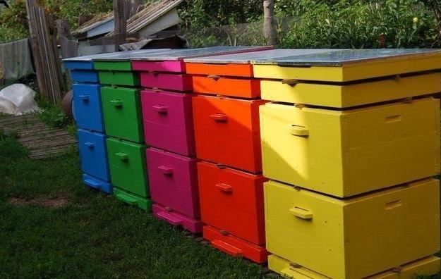 улья покрашены резиновой краской супер декор в разные цвета