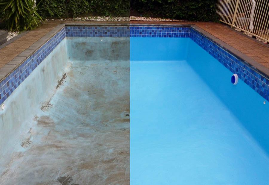 Вид бассейна до покраски и после резиновой краской Super Decor