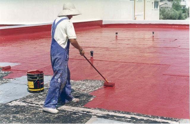 крыша наливная резиновой краской супер декор покрашена в красный цвет