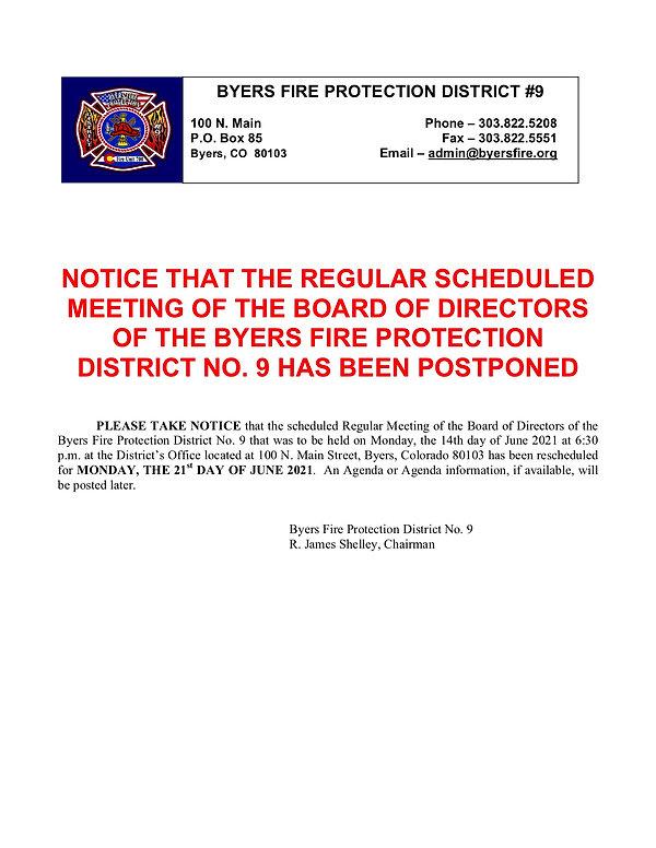 Posting to Postpone Regular Meeting in J