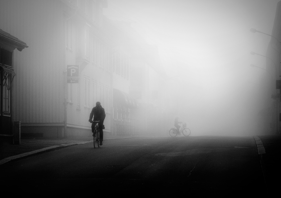 Bikers in the fog