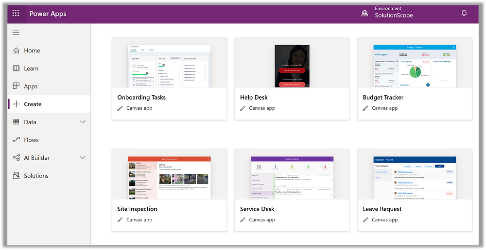 Screenshot of Power Apps Gallery Layouts