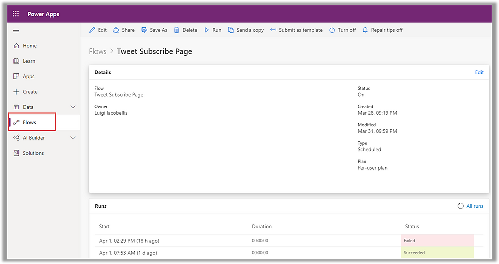 Illustrates the Flow Dashboard as it appears in Microsoft Power Apps