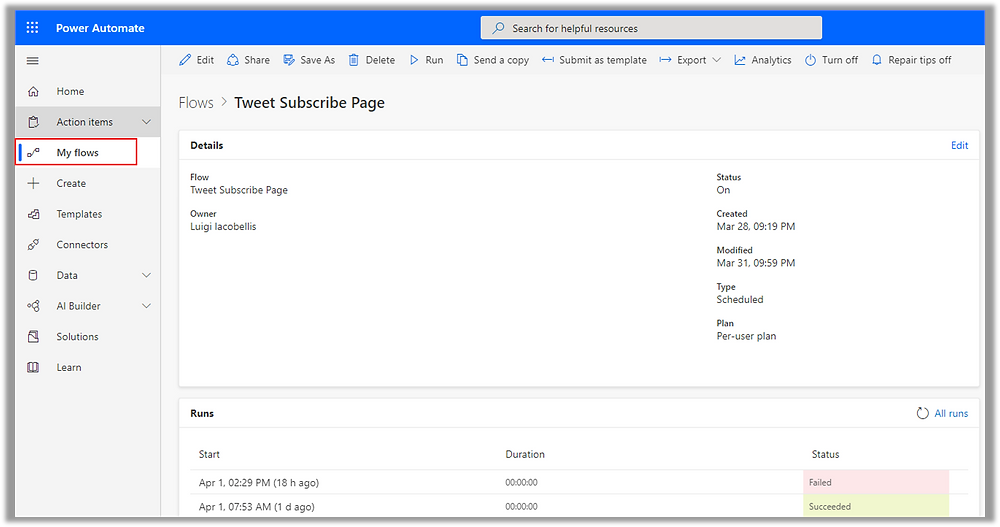 Illustrates the Flow Dashboard As It Appears in Microsoft Power Automate