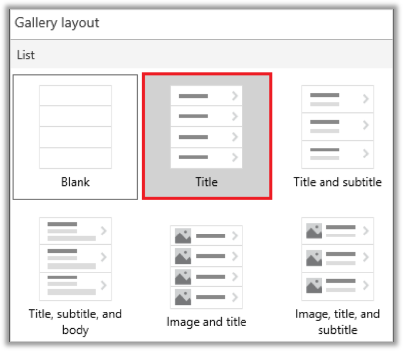 Screenshot of the Gallery Layouts in Power Apps