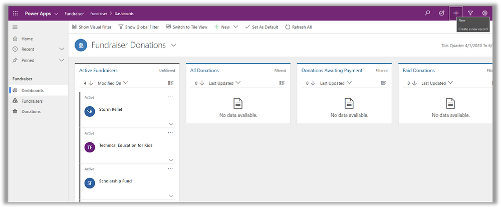 Screenshot of a Microsoft Power Apps Model-Driven App