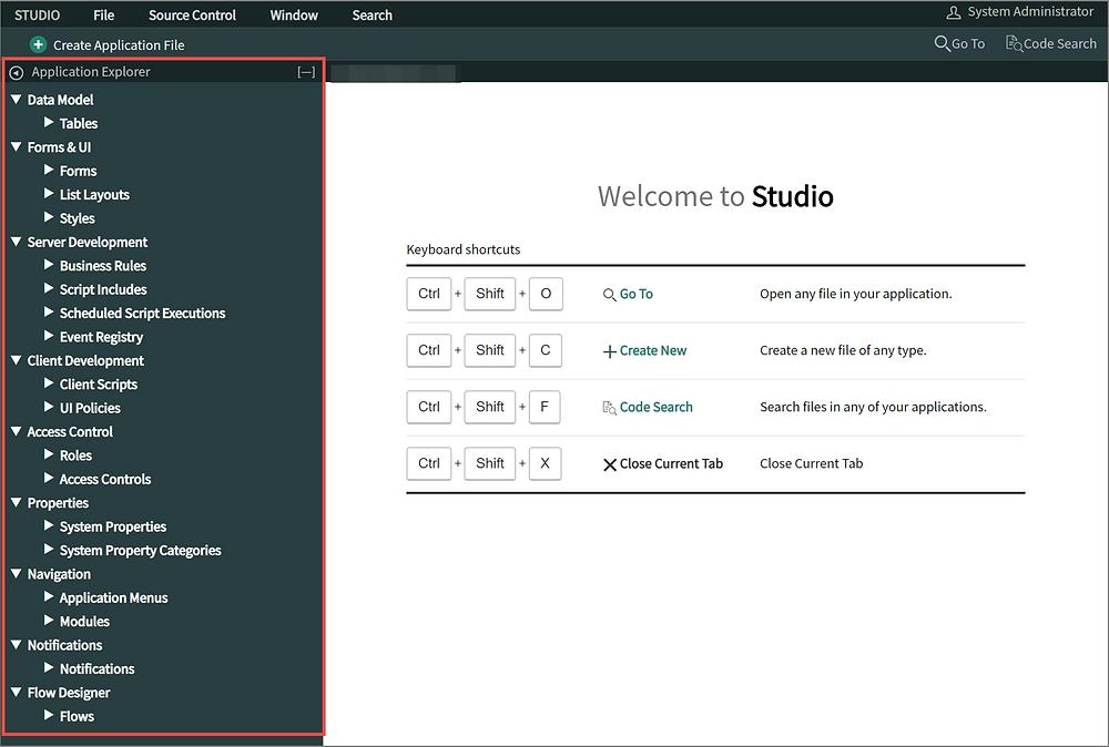 ServiceNow App Engine Studio Application Explorer