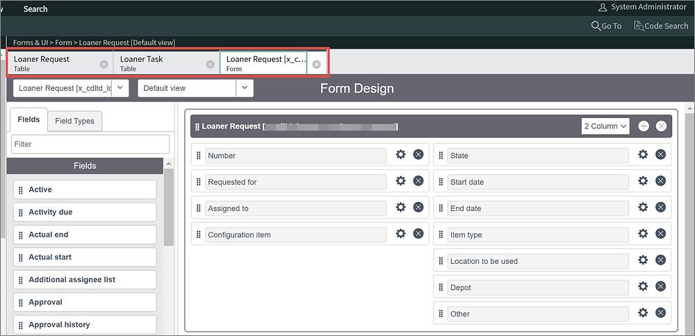 ServiceNow Studio App Engine Tabs