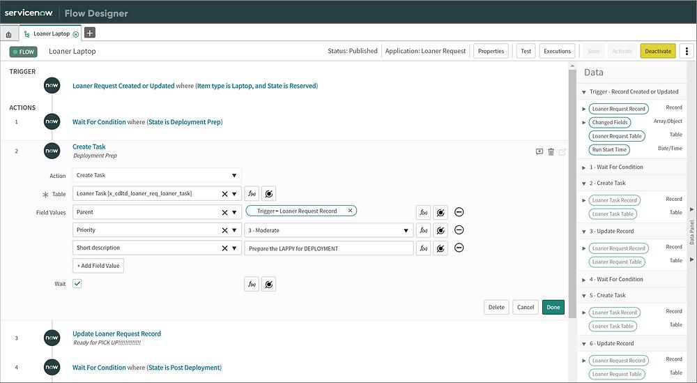 ServiceNow App Engine Workflow Designer