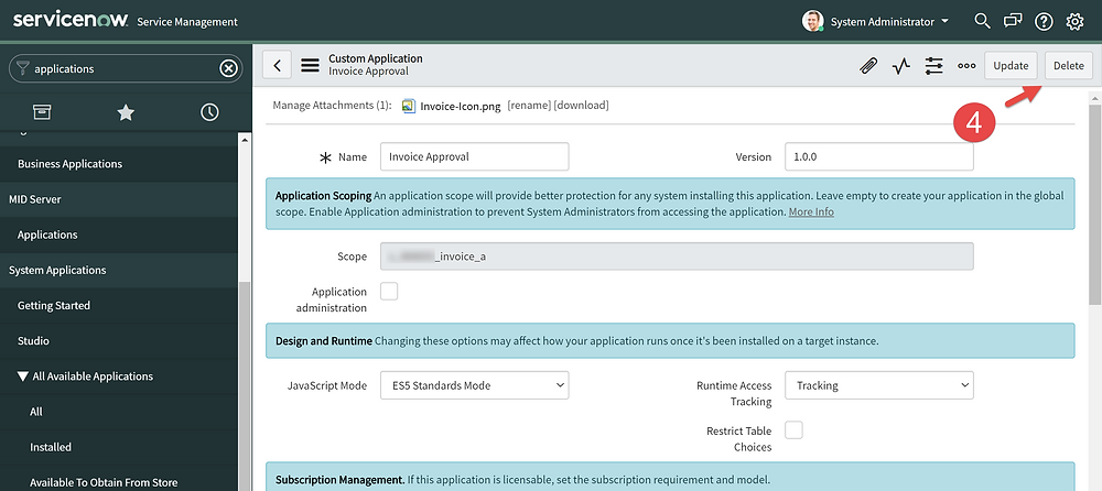 Step 4 of This article is going to show you how to delete a scoped app in ServiceNow App Engine low-code no-code platform.