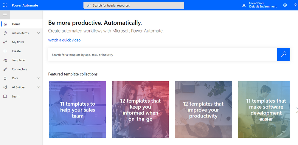 Shows the Microsoft Power Automate Landing Page