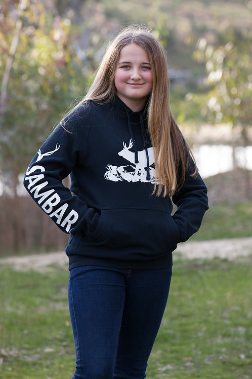 UNISEX Navy Blue Running Deer with Sambar down the Arm Hoodie