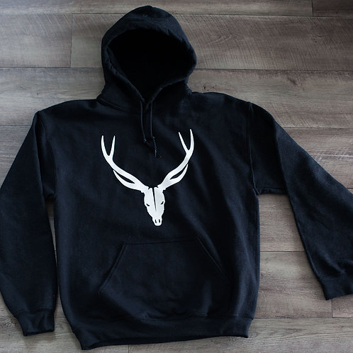 Black with White Skull Hoodie