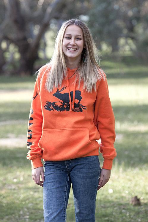 UNISEX Orange Running Deer with Sambar down the Arm Hoodie