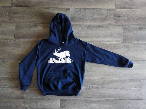 Navy Blue with White deer kids Hoodie
