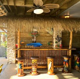 Tiki Bar and Carved Stools