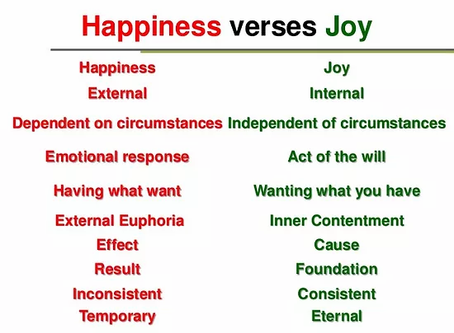 What is the difference between Joy and Happiness?