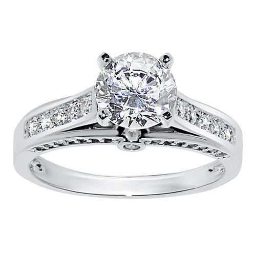 14k White Gold 1 1/2ct TGW Round-cut Diamonette Engagement Ring