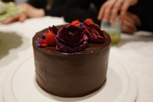 DARK CHOCOLATE + BERRY CAKE