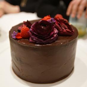 Dark Chocolate Almond + Banana Cake. Refined sugar + gluten free.
