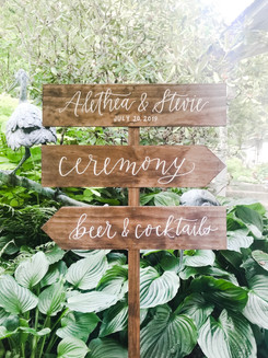 Wood Directional Sign Wedding
